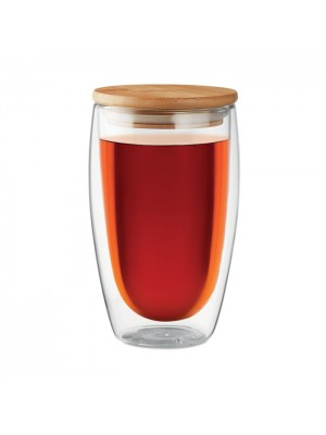 Pahar Mare Tirana 450 ml cu Perete Dublu si Capac Bambus