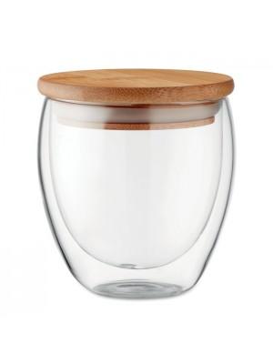 Pahar Mic Tirana 250 ml cu Perete Dublu  cu Capac Bambus