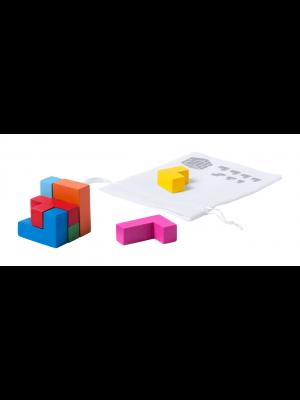 Puzzle 3D cu Piese de Lemn Colorate