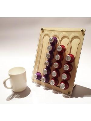 Suport 24 Capsule Cafea Pentru Espresor, Bej-Transparent, 20x1x26 cm